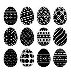a set of easter eggs with patterns vector image vector image