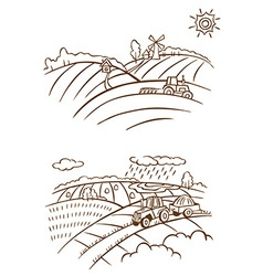 agriculture landscape with tractor vector image