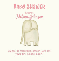 beautiful doodle baby shower card wirh watercolor vector image