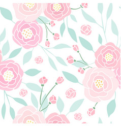 cute pink peony seamless pattern vector image vector image