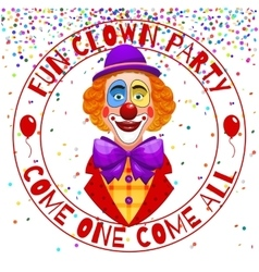 Fun clowns party invitation Funny happy laughing vector image
