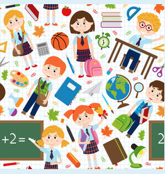 seamless pattern with pupils and school supplies vector image