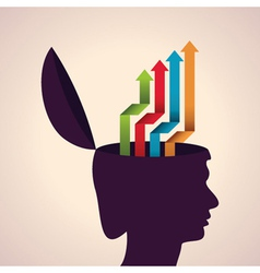 Thinking concept-Human head with colorful arrows vector image vector image