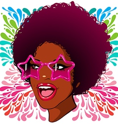 African-american disco glasses with the stars vector