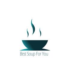 blue concept soup food dish or restaurant logo vector image