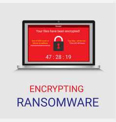 malware encrypted file in computer ransomware vector image