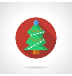 Red round icon for Xmas tree vector image vector image