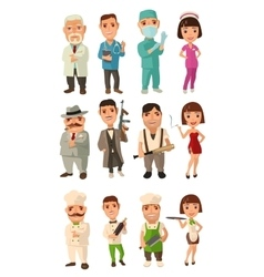 Set icon character cook mafia doctor Waiter vector image vector image