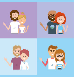 set romantic couple together with hairstyle design vector image