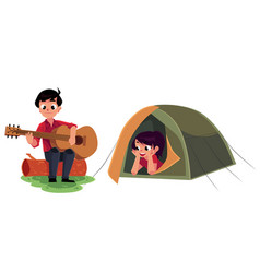 camping kids - boy and girl playing guitar and vector image