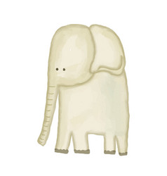 doodle watercolor hand drawn elephant isolated on vector image