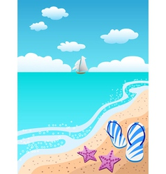 sandals on the beach vector image