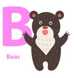 alphabet for children b letter bear cartoon icon vector image