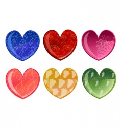 beautiful hearts with fruit patterns vector image