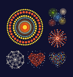 firework different shapes colorful festive heart vector image