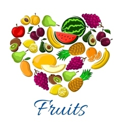 Fruits heart exotic farm farvest poster vector image