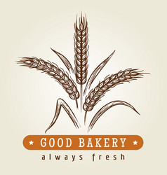 good bakery logo with wheat ears vector image vector image