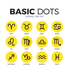 zodiac flat icons set vector image