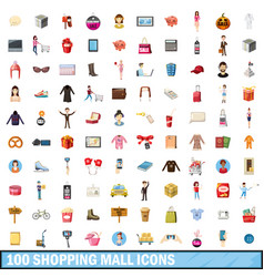 100 shopping mall icons set cartoon style vector