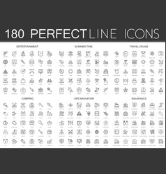 180 modern thin line icons set entertainment vector image