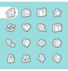 3D Fat Line Icons vector