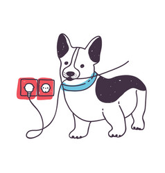 Adorable dog gnawing or eating wires funny vector