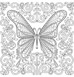 Adult coloring book with butterfly in flowers vector