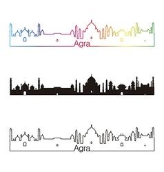 Agra skyline linear style with rainbow vector