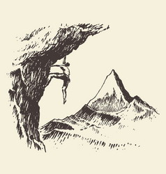 alpinist mountain peak drawn sketch vector image