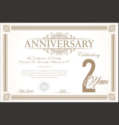 anniversary retro vintage background 2 years vector image