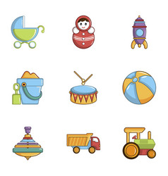 baby toys icons set cartoon style vector image
