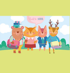 back to school cute animals with books and vector image