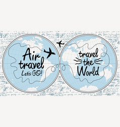 banner on theme air travel with world map vector image
