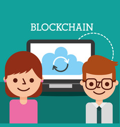 businessman and woman laptop cloud blockchain vector image