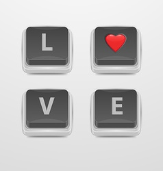 Button Love icon vector image