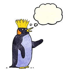 cartoon emperor penguin waving with thought bubble vector image