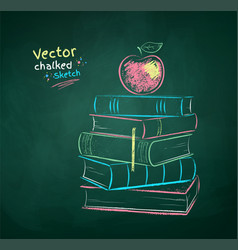 chalk drawn apple on books vector image