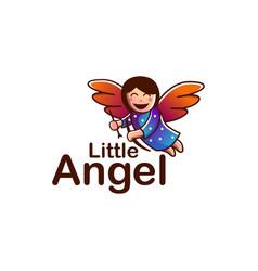 Cheerful flying angel mascot cartoon logo vector