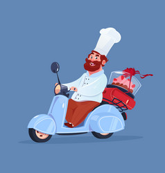 Chef cook riding electric scooter delivery of cake vector
