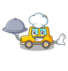 Chef with food cartoon clockwork toy car for gift vector