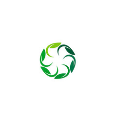 circle green leaf organic logo vector image