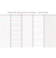 Collection seamless delicate patterns soft vector