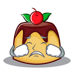 Crying pudding character cartoon style vector