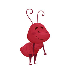 Cute ant character standing in bending pose vector