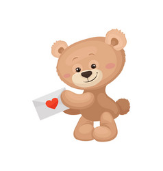 cute brown teddy bear with pink cheeks and shiny vector image