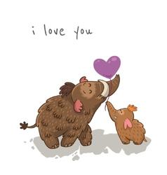 Cute cartoon card with mammoth vector