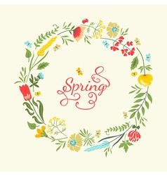 Cute floral wreath in retro style Summer vector