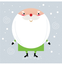 Cute green Santa with red nose isolated on white vector image