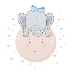 cute little blue elephant with bow on his head vector image
