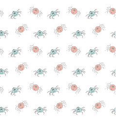 cute spider seamless pattern cartoon hand drawn vector image